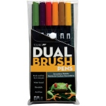 Tombow® Dual Brush® 6-Color Secondary Pen Set: Multi, Double-Ended, Dye-Based, Brush Nib, Fine Nib, Brush Pen, (model 56163), price per set