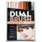 Tombow® Dual Brush® 10-Color Portrait Set: Multi, Double-Ended, Dye-Based, Brush Nib, Fine Nib, Brush Pen, (model 56170), price per set