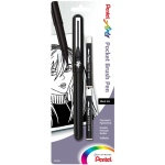 Pentel® Pocket Brush Pen Black; Color: Black/Gray; Ink Type: Pigment; Refillable: Yes; Tip Type: Fine Nib; (model GFKP3BPA), price per pack