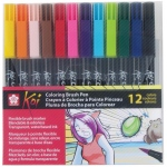 Koi™ Coloring Brush 12-Pen Set: Multi, Water-Based, Bold Nib, Fine Nib, Medium Nib, Brush Pen, (model XBR-12SA), price per set