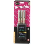 Pigma® Black Graphic Drawing Pen; Color: Black/Gray; Ink Type: Pigment; Tip Size: 1mm, 2mm, 3mm; Tip Type: Fine Nib; (model 38881), price per set