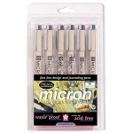Pigma® Micron® Fine Line Design Pen 6-Color Pack .25mm; Color: Multi; Ink Type: Pigment; Tip Size: .25mm; Tip Type: Fine Nib; (model 30063), price per set