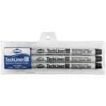 Alvin® TechLiner Technical Drawing Marker 3-Piece Set; Color: Black/Gray; Tip Size: .1mm, .5mm; Tip Type: Fine Nib; Type: Technical; (model TLP3), price per set