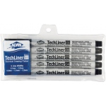 Alvin® TechLiner Technical Drawing Marker 5-Piece Set; Color: Black/Gray; Tip Size: .1mm, .2mm, .4mm, .5mm; Tip Type: Fine Nib; Type: Technical; (model TLP5), price per set