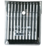 Copic® Multiliner SP (Refillable) Black Pen Set; Color: Black/Gray; Ink Type: Pigment; Refillable: Yes; Tip Size: .03mm, .05mm, .1mm, .25mm, .2mm, .5mm, .7mm; Tip Type: Brush Nib, Fine Nib; (model MLSP10A), price per pack