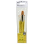 Royal & Langnickel® 9100 Series  Zip N' Close™ Yellow 5-Piece Brush Set 4: Short Handle, Taklon, Flat, Round, Shader, Acrylic, Tempera, Watercolor, (model RSET-9122), price per set