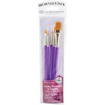 Royal & Langnickel® 9100 Series  Zip N' Close™ Purple 5-Piece Brush Set 1: Short Handle, Taklon, Round, Shader, Wash, Acrylic, Tempera, Watercolor, (model RSET-9130), price per set