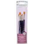 Royal & Langnickel® 9100 Series  Zip N' Close™ Purple 5-Piece Brush Set 8: Short Handle, Taklon, Shader, Acrylic, Tempera, Watercolor, (model RSET-9137), price per set