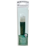 Royal & Langnickel® 9100 Series  Zip N' Close™ Green 6-Piece Brush Set 1; Length: Short Handle; Material: Taklon; Shape: Detail, Liner, Script; Type: Acrylic, Tempera, Watercolor; (model RSET-9139), price per set