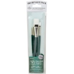 Royal & Langnickel® 9100 Series  Zip N' Close™ Green 4-Piece Brush Set 3: Short Handle, Taklon, Glaze, Liner, Round, Shader, Acrylic, Oil, Tempera, Watercolor, (model RSET-9142), price per set