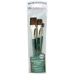 Royal & Langnickel® 9100 Series  Zip N' Close™ Green 3-Piece Brush Set 4: Short Handle, Camel, Glaze, Round, Acrylic, Tempera, Watercolor, (model RSET-9143), price per set