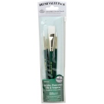 Royal & Langnickel® 9100 Series  Zip N' Close™ Green 4-Piece Brush Set 6: Short Handle, Taklon, Glaze, Round, Acrylic, Oil, Tempera, Watercolor, (model RSET-9145), price per set