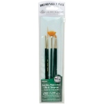 Royal & Langnickel® 9100 Series  Zip N' Close™ Green 5-Piece Brush Set 7: Short Handle, Taklon, Angular, Fan, Flat, Script, Acrylic, Oil, Tempera, Watercolor, (model RSET-9146), price per set