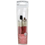 Royal & Langnickel® 9100 Series  Zip N' Close™ Red 10-Piece Brush Set 8: Short Handle, Camel, Sable, Detail, Flat, Round, Shader, Acrylic, Oil, Tempera, Watercolor, (model RSET-9152), price per set