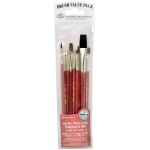 Royal & Langnickel® 9100 Series  Zip N' Close™ Red 10-Piece Brush Set: Short Handle, Camel, Sable, Detail, Flat, Round, Shader, Acrylic, Oil, Tempera, Watercolor, (model RSET-9153), price per set