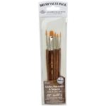 Royal & Langnickel® 9100 Series  Zip N' Close™ Brown 6-Piece Brush Set 1: Short Handle, Camel, Sable, Detail, Flat, Round, Shader, Acrylic, Tempera, Watercolor, (model RSET-9161), price per set