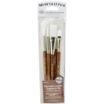 Royal & Langnickel® 9100 Series  Zip N' Close™ Brown 5-Piece Brush Set 3: Short Handle, Camel, Sable, Detail, Flat, Round, Shader, Acrylic, Oil, Tempera, Watercolor, (model RSET-9163), price per set