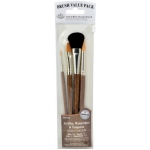 Royal & Langnickel® 9100 Series  Zip N' Close™ Brown 4-Piece Brush Set 5: Short Handle, Camel, Sable, Detail, Flat, Round, Shader, Acrylic, Tempera, Watercolor, (model RSET-9165), price per set