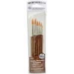 Royal & Langnickel® 9100 Series  Zip N' Close™ Brown 6-Piece Brush Set 7: Short Handle, Camel, Sable, Detail, Flat, Round, Shader, Acrylic, Tempera, Watercolor, (model RSET-9167), price per set