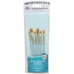 Royal & Langnickel 9100 Series Zip N' Close Brush Set: Teal Blue, Gold Taklon, Shader 2, 4, 6, 8, 10, 12, Clear Acrylic Handle