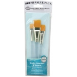 "Royal & Langnickel 9100 Series Zip N' Close Brush Set: Teal Blue, Gold Taklon, Glaze Wash 1/2"", 3/4"", 1, Clear Acrylic Handle"