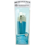 Royal & Langnickel® 9100 Series  Zip N' Close™ Teal Blue 7-Piece Brush Set 10: Short Handle, Taklon, Fan, Glaze, Liner, Round, Shader, Acrylic, Oil, Tempera, Watercolor, (model RSET-9181), price per set