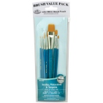 Royal & Langnickel® 9100 Series  Zip N' Close™ Teal Blue 7-Piece Brush Set 12: Short Handle, Taklon, Glaze, Liner, Round, Shader, Acrylic, Tempera, Watercolor, (model RSET-9183), price per set