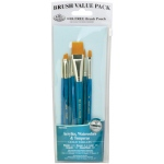 Royal & Langnickel® 9100 Series  Zip N' Close™ Teal Blue 7-Piece Brush Set 13; Length: Short Handle; Material: Taklon; Shape: Angular, Glaze, Liner, Round, Shader; Type: Acrylic, Tempera, Watercolor; (model RSET-9184), price per set