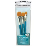Royal & Langnickel® 9100 Series  Zip N' Close™ Teal Blue 3-Piece Brush Set 14; Length: Short Handle; Material: Taklon; Shape: Glaze; Type: Acrylic, Tempera, Watercolor; (model RSET-9185), price per set