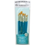 Royal & Langnickel® 9100 Series  Zip N' Close™ Teal Blue 8-Piece Brush Set 15: Short Handle, Taklon, Angular, Round, Shader, Acrylic, Tempera, Watercolor, (model RSET-9186), price per set