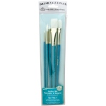 Royal & Langnickel® 9100 Series  Zip N' Close™ Teal Blue 5-Piece Brush Set 17: Long Handle, Taklon, Bright, Filbert, Flat, Round, Acrylic, Oil, Tempera, Watercolor, (model RSET-9188), price per set