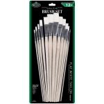 Royal & Langnickel® White Taklon Flat Brush Set; Length: Multi; Material: White Taklon; Shape: Flat, Multi; Type: Multi; (model RSET-9605), price per set