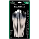 Royal & Langnickel® White Taklon Round & Flat Brush Set: Multi, White Taklon, Multi, Multi, (model RSET-9611), price per set