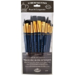 Royal & Langnickel® 9300 Series  Zip N' Close™ 12-Piece Black Taklon Brush Set 1: Short Handle, Taklon, Angular, Bright, Fan, Flat, Round, Acrylic, Tempera, Watercolor, (model RSET-9301), price per set