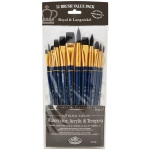 Royal & Langnickel® 9300 Series  Zip N' Close™ 12-Piece Black Taklon Brush Set 2; Length: Short Handle; Material: Taklon; Shape: Bright, Filbert, Flat, Round; Type: Acrylic, Tempera, Watercolor; (model RSET-9302), price per set