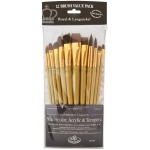 Royal & Langnickel® 9300 Series  Zip N' Close™ 12-Piece Brown Taklon Brush Set 1: Short Handle, Taklon, Angular, Bright, Filbert, Flat, Round, Acrylic, Tempera, Watercolor, (model RSET-9303), price per set