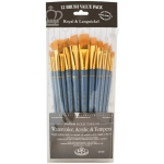 Royal & Langnickel® 9300 Series  Zip N' Close™ 12-Piece Gold Taklon Brush Set 3; Length: Short Handle; Material: Taklon; Shape: Angular, Bright, Fan, Filbert, Flat, Round; Type: Acrylic, Tempera, Watercolor; (model RSET-9307), price per set