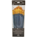 Royal & Langnickel® 9300 Series  Zip N' Close™ 12-Piece Gold Taklon Long Brush Set 1; Length: Long Handle; Material: Taklon; Shape: Angular, Bright, Fan, Filbert, Flat, Round; Type: Acrylic, Tempera, Watercolor; (model RSET-9312), price per set