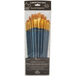 Royal & Langnickel® 9300 Series  Zip N' Close™ 12-Piece Gold Taklon Long Brush Set 2; Length: Long Handle; Material: Taklon; Shape: Angular, Bright, Filbert, Flat, Round; Type: Acrylic, Tempera, Watercolor; (model RSET-9313), price per set