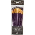 Royal & Langnickel® 9300 Series  Zip N' Close™ 12-Piece Burgundy Taklon Long Brush Set 1; Length: Long Handle; Material: Taklon; Shape: Angular, Bright, Fan, Filbert, Flat, Round; Type: Acrylic, Oil; (model RSET-9314), price per set