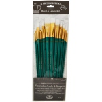 Royal & Langnickel® 9300 Series  Zip N' Close™ 12-Piece White Taklon Long Brush Set; Length: Long Handle; Material: Taklon; Shape: Angular, Bright, Fan, Filbert, Flat, Round; Type: Acrylic, Tempera, Watercolor; (model RSET-9316), price per set