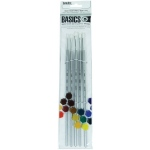 Liquitex® Basics 5-Piece Brush Pack Long Handle; Length: Long Handle; Shape: Bright, Filbert, Flat, Round; Type: Acrylic; (model 692002), price per set