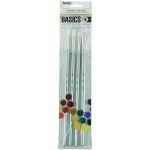Liquitex® Basics 4-Piece Brush Pack Long Handle: Long Handle, Bright, Filbert, Round, Acrylic, (model 692003), price per set