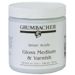 Grumbacher® Gloss Medium and Varnish for Acrylics; Finish: Gloss; Format: Jar; Size: 8 oz; Type: Varnish; (model GB5278), price per each