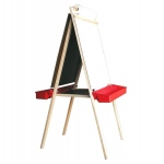 Beka Deluxe Easel: Chalkboard & Markerboard, Red Plastic Tray