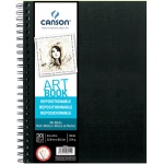 "Canson® ArtBook™ Repositionable Mix Media Wire Bound Book: Wire Bound, White/Ivory, Book, Black/Gray, 30 Sheets, 9"" x 12"", Mix Media, 150 lb, (model C200006411), price per each"