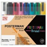 Zig®  Posterman® 6mm Waterproof Marker Set; Color: Multi; Ink Type: Water-Based; Tip Type: Broad Nib; (model PMA-50/8V), price per set