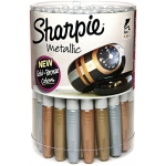 Sharpie® Fine Point Metallic 36-Piece Canister Display; Color: Metallic; Tip Type: Fine Nib; (model SN1835492D), price per each