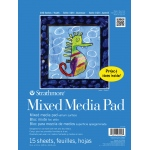 "Strathmore® 100 Series 9"" x 12"" Tape Bound Mix Media Pad; Binding: Tape Bound; Color: White/Ivory; Format: Pad; Quantity: 15 Sheets; Size: 9"" x 12""; Type: Mix Media; (model ST27-018), price per 15 Sheets pad"