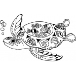 Sarasota Stamps Mounted Rubber Stamp: Deco Sea Turtle